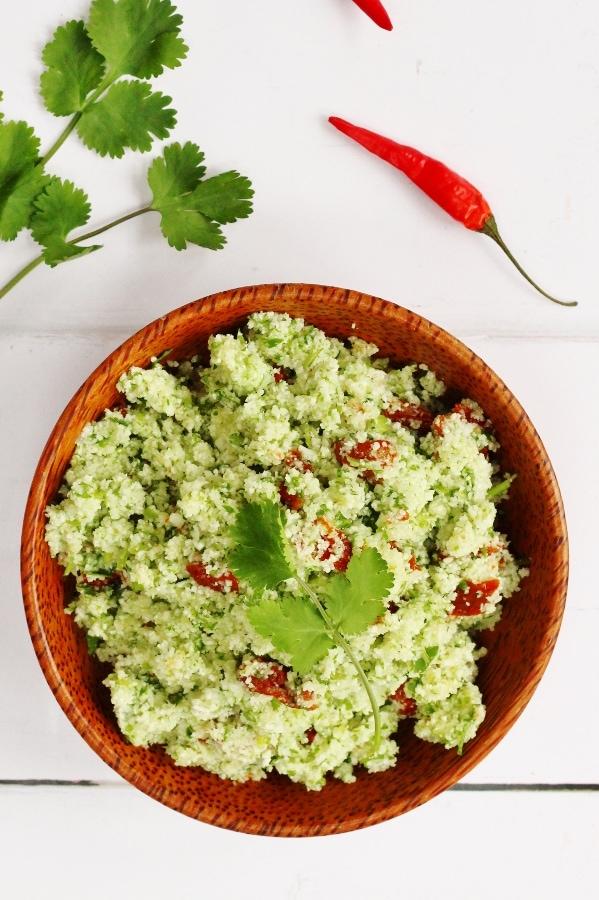 bowl of raw cauliflower tabouleh
