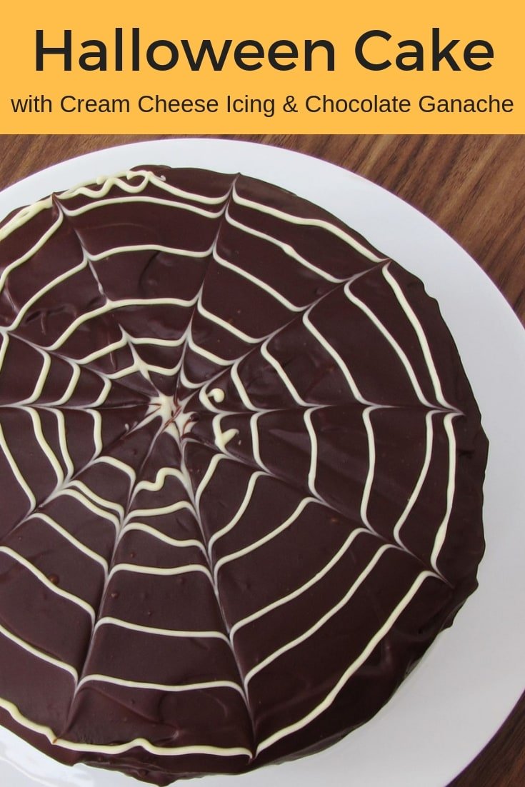 Three layers of super moist chocolate cake sandwiched with cream cheese icing and coated in a rich chocolate ganache, this really is THE ultimate Halloween cake recipe! #halloween #cake #chocolatecake #ganache #dessert #sweettreat #afternoontea #cakedecorating #creamcheesefrosting #chocolateganache #partyfood