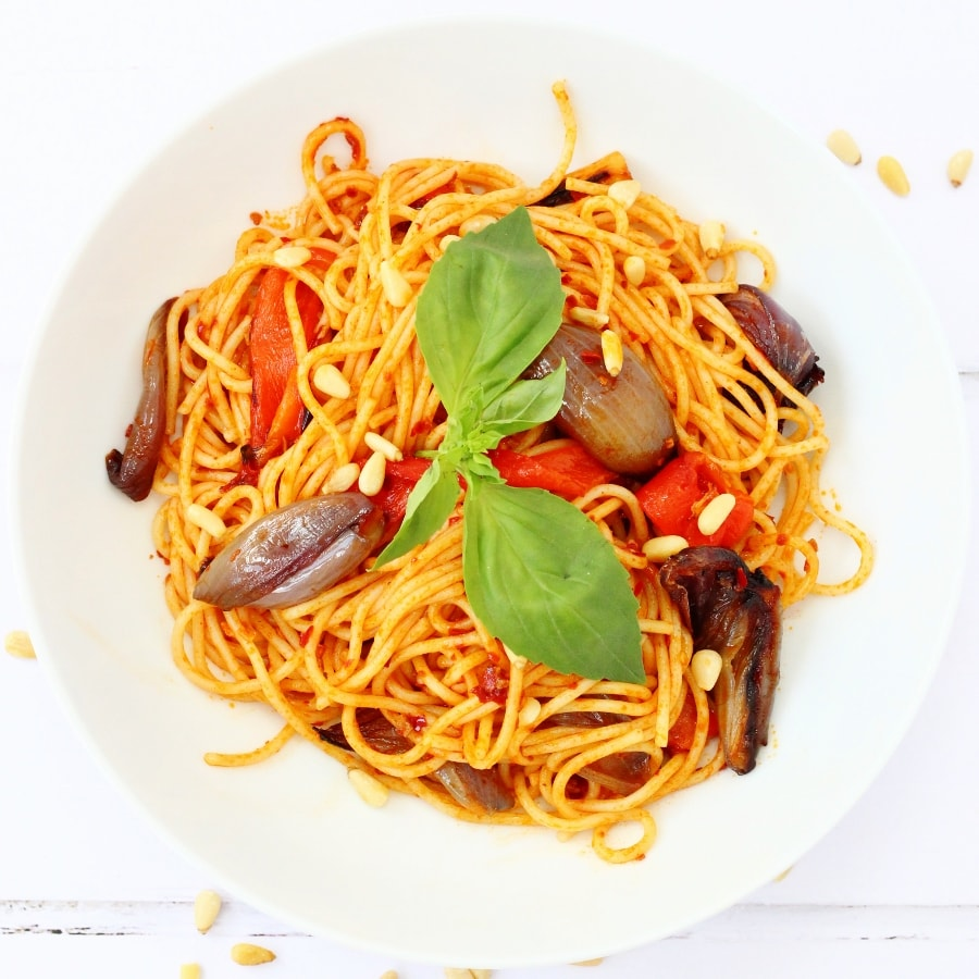 Harissa pasta with roasted vegetables