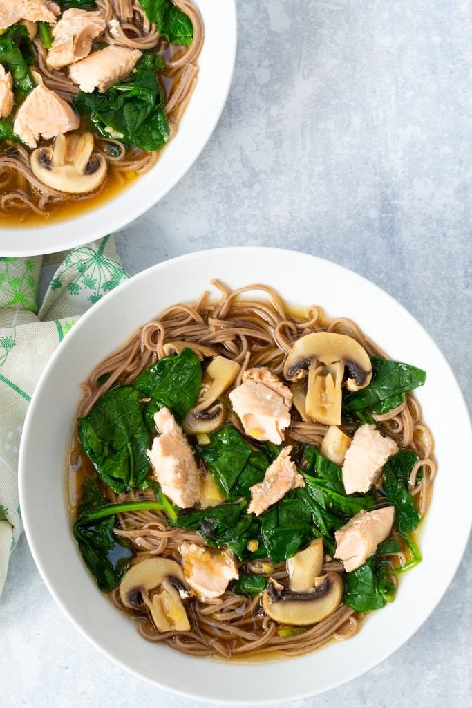 salmon miso soup with soba noodles