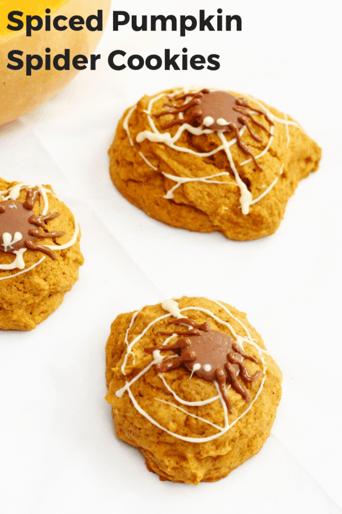 These spiced pumpkin cookies are soft cake-like and beautifully flavoured.  Enjoy them plain or decorate them with spiders and webs for Halloween! They make the perfect kid's treat for Halloween. #pumpkin #cookies #halloween #baking #spiced #easyrecipes #forkids #partyfood