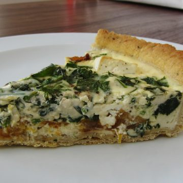 slice of pumpkin and feta quiche