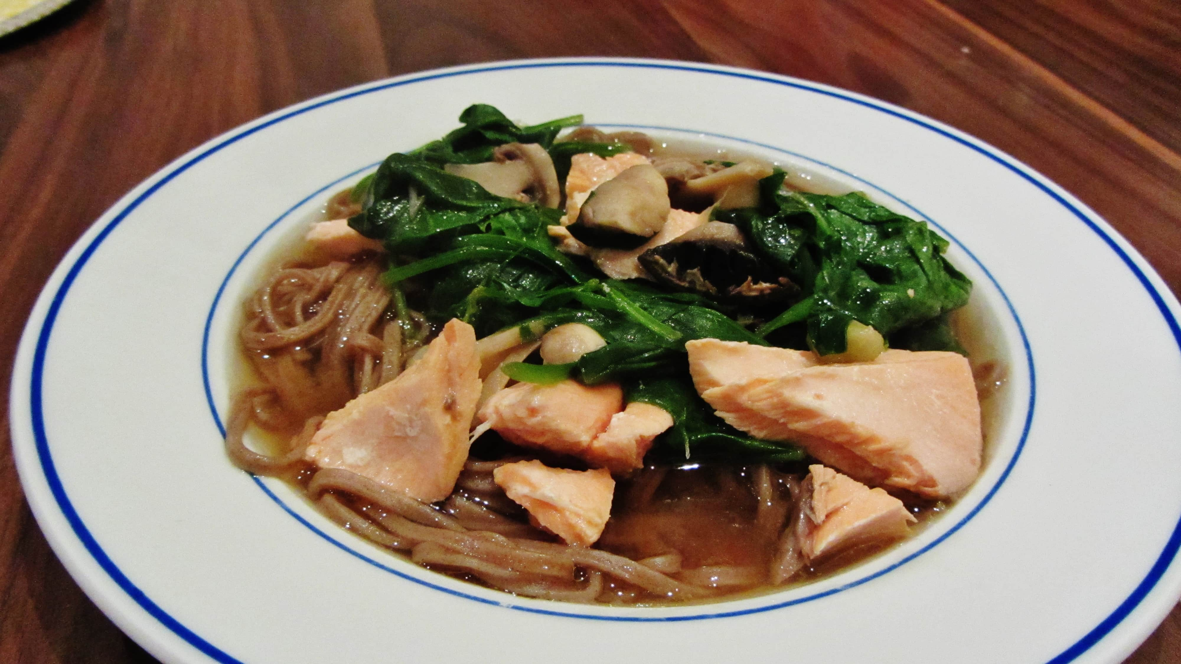 Salmon Miso Soup with Soba Noodles - Searching for Spice