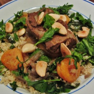 Slow cooked Lamb with apricots and almonds