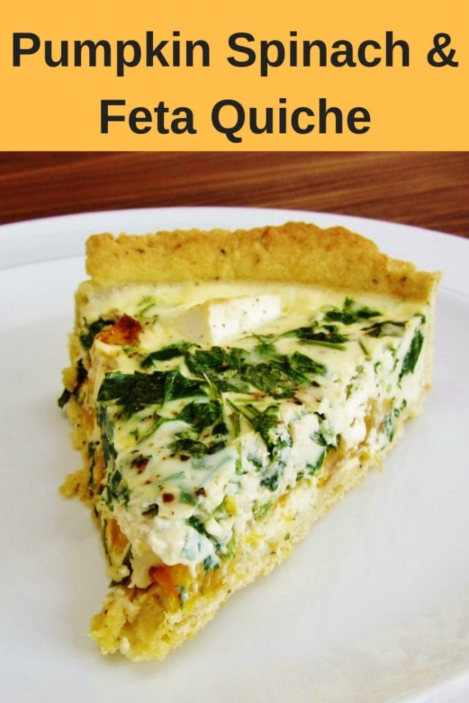 This creamy pumpkin spinach and feta quiche is a great family friendly recipe. Delicious hot or cold and the leftovers are great too. Perfect as a cheesy creamy vegetarian option. It's also a great recipe to make with leftovers pumpkin. #quiche #pumpkinrecipes #feta #spinach #vegetarian #familyfriendlyrecipes