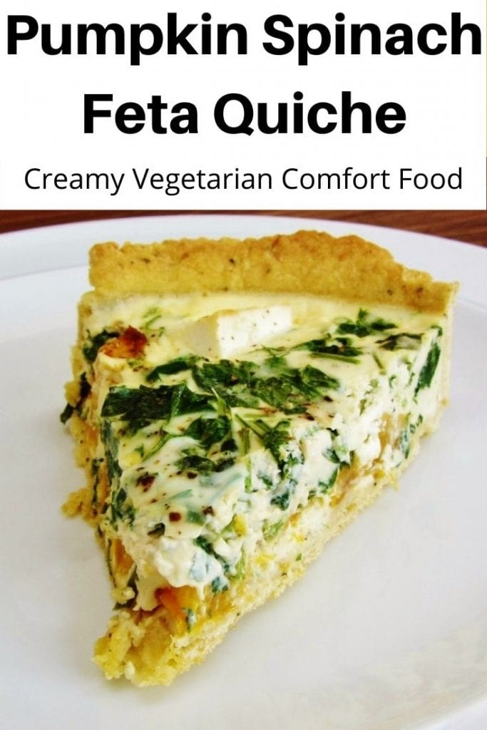 Pumpkin spinach feta quiche pin image