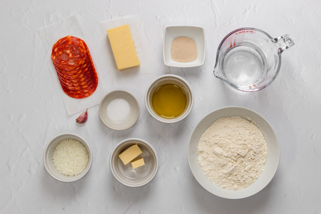 Ingredients for pizza bread rolls