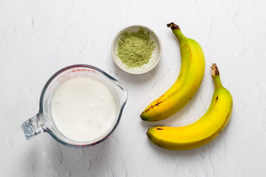 Ingredients for matcha banana smoothie