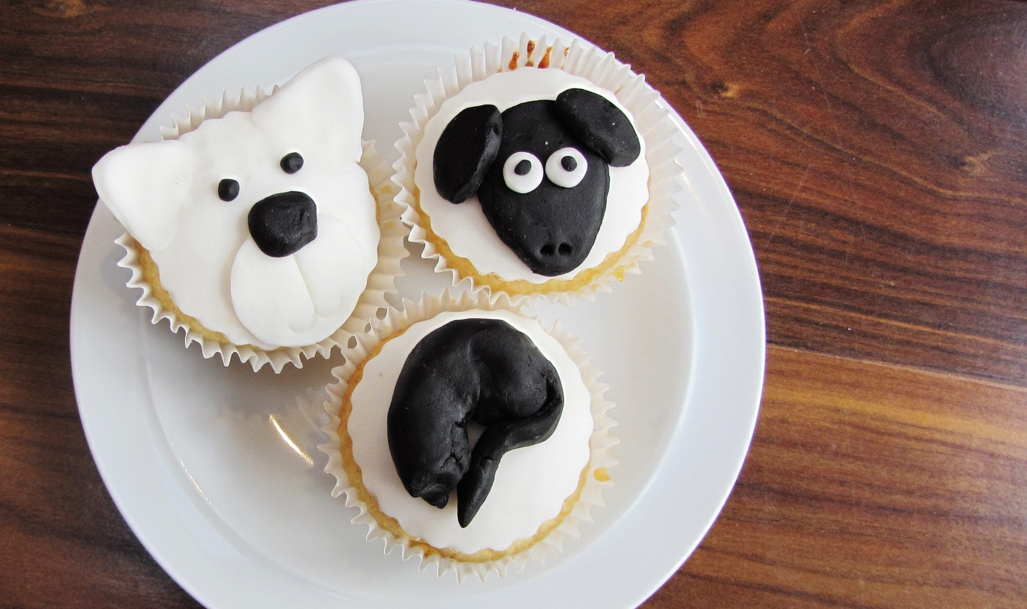 Polar bear, sheep and cat cupcakes