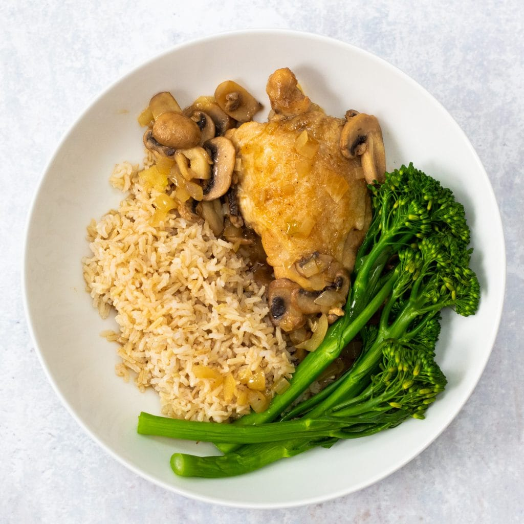 white bowl with Chinese five spice chicken