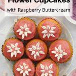 marshmallow flower cupcakes pin image
