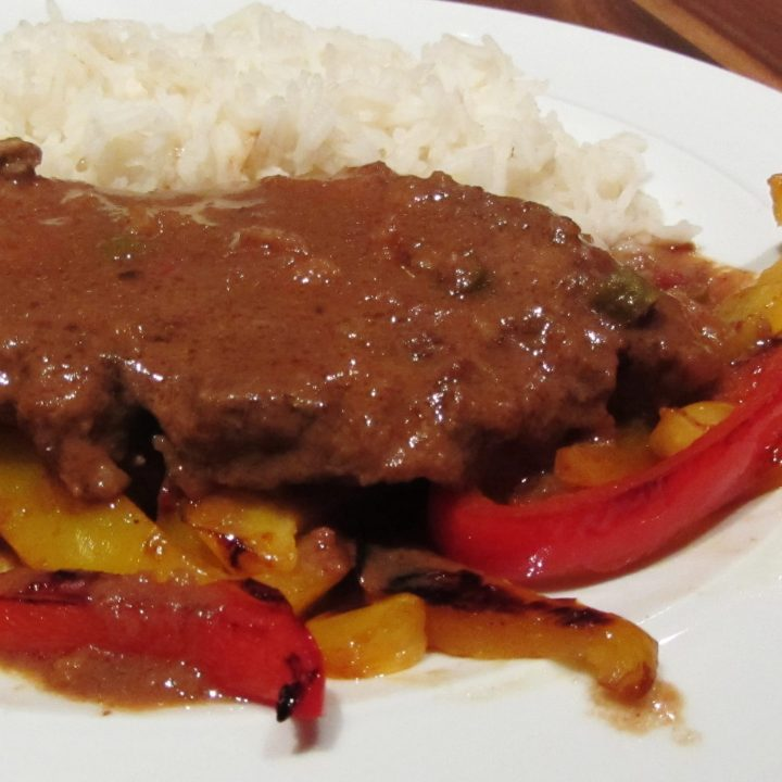slow cooked pork in peanut butter sauce