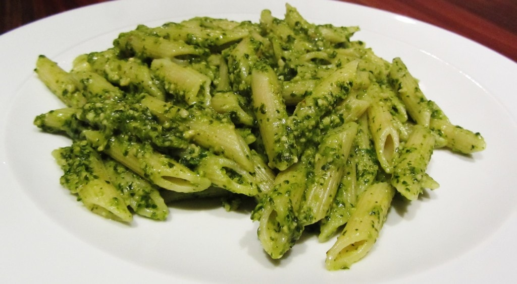 Coriander pesto on pasta