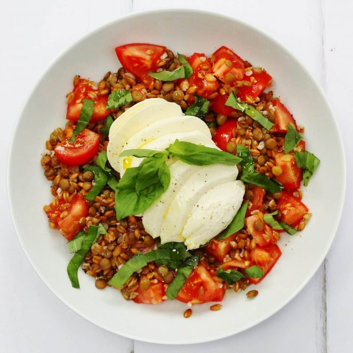 Spelt and lentil caprese salad. Tomatoes, basil and mozzarella with lentils and spelt