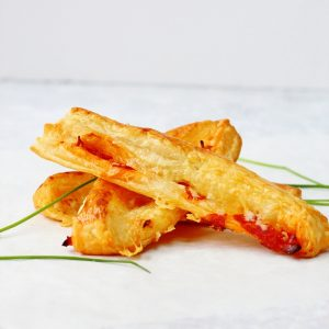 3 ingredients chorizo cheese straws made with puff pastry