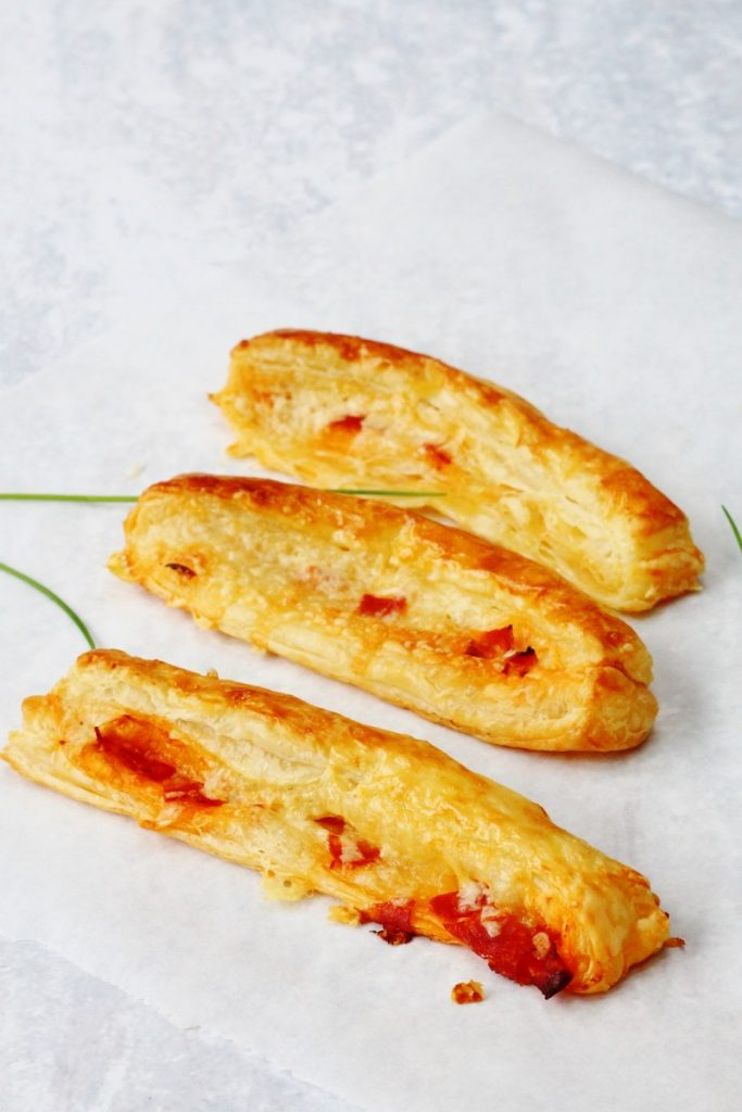 Cheese and chorizo straws made with ready rolled puff pastry