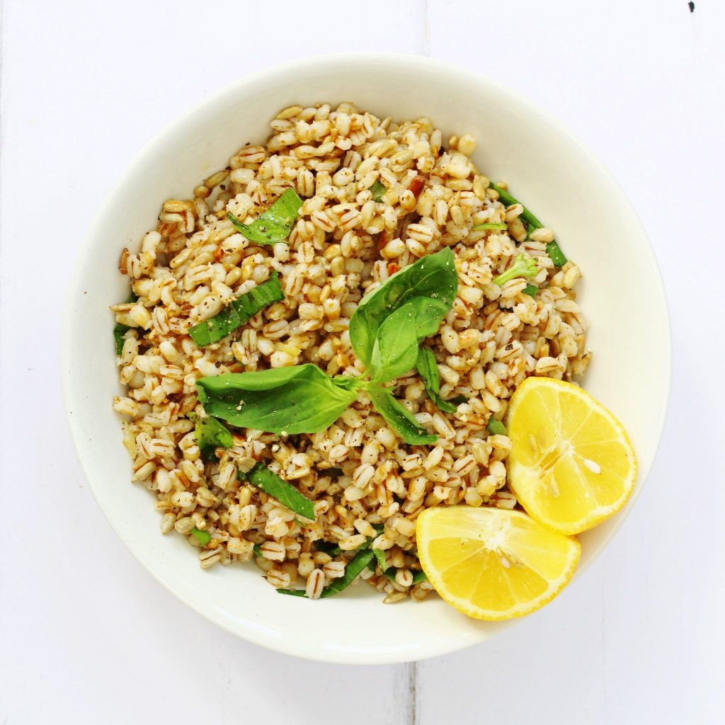 Lemon basil & barley salad