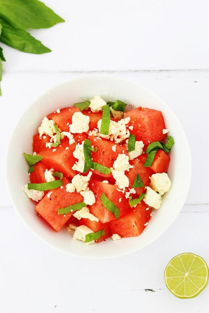 basil watermelon feta salad