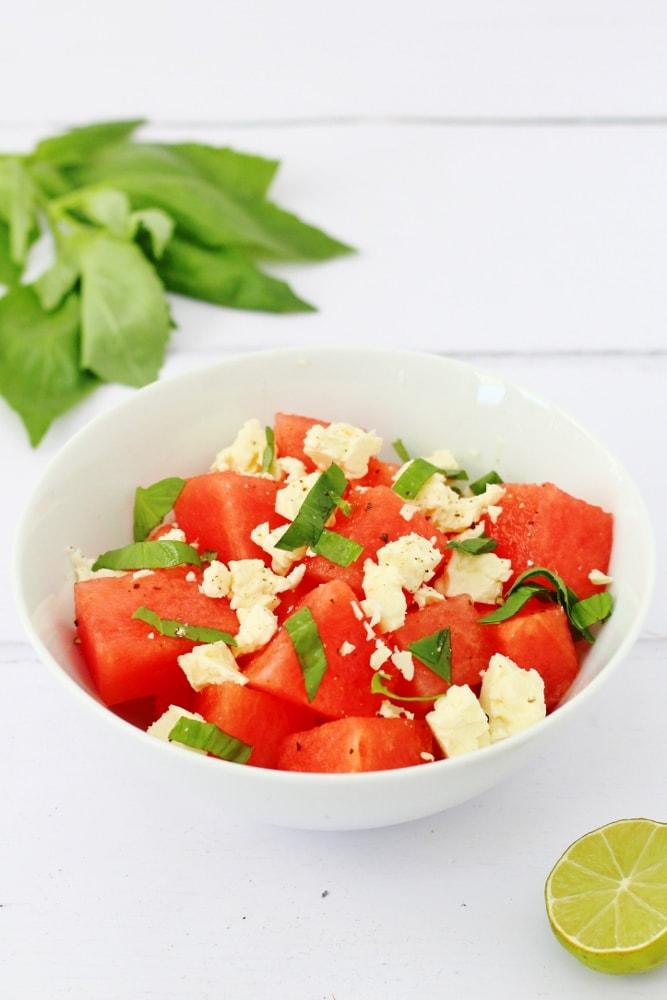 basil watermelon and feta salad