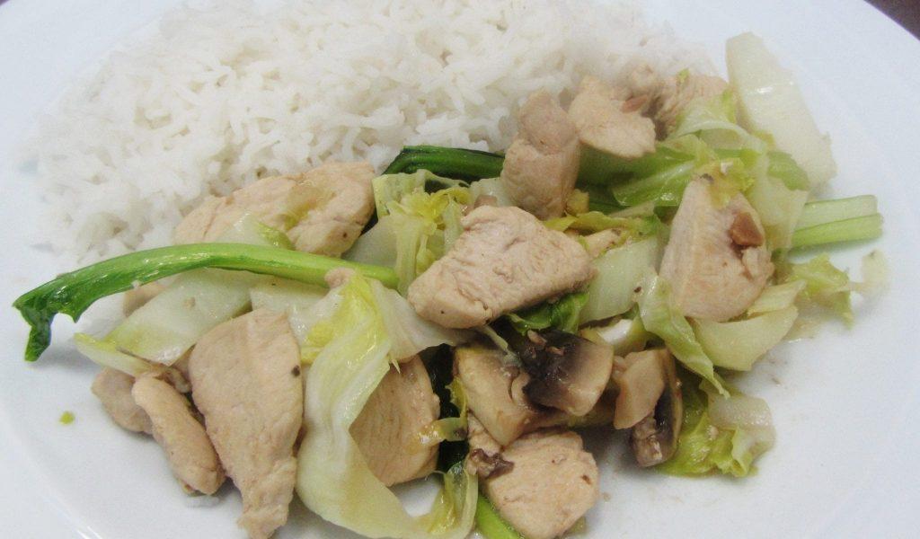 cauliflower leaf and chicken stir fry