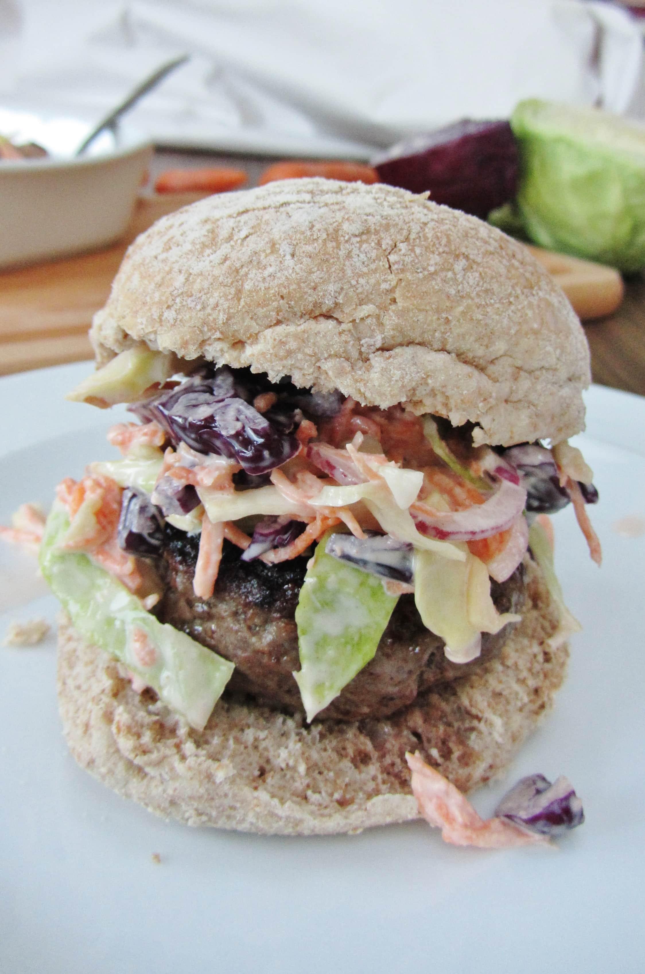 Homemade burger with char siu coleslaw