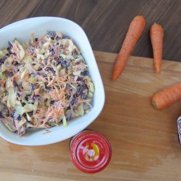 Coleslaw with char siu sauce - chinese bbq Sauce