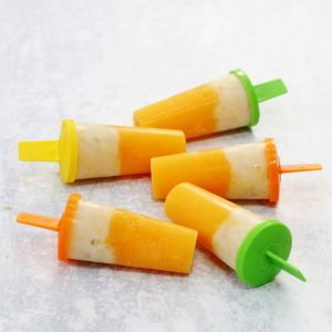 5 peach and banana ice lollies