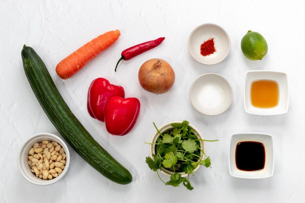 Ingredients for Thai cucumber salad