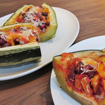 Kidney Bean and Mozzarella stuffed marrow