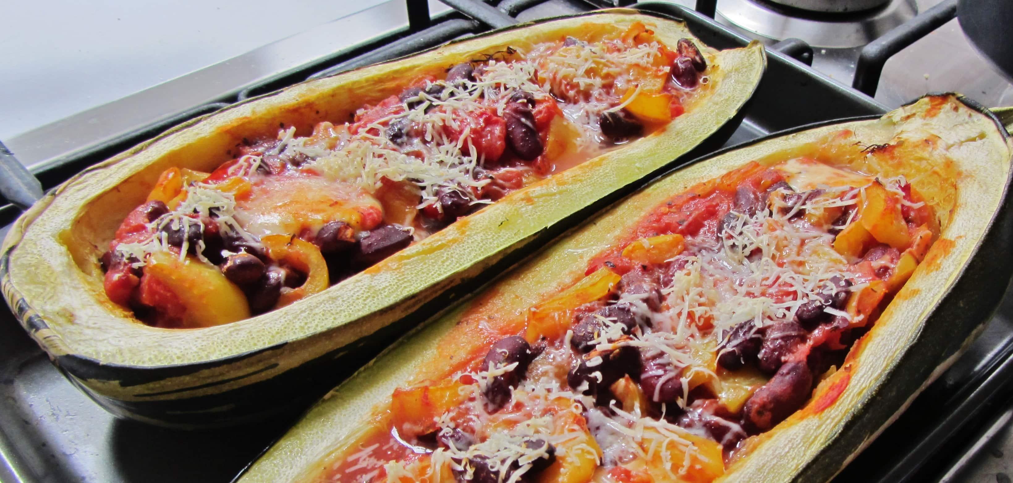 Kidney Bean and Mozzarella stuffed marrow