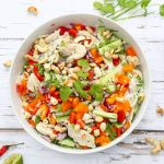 Bowl of vietnamese chicken and rice salad