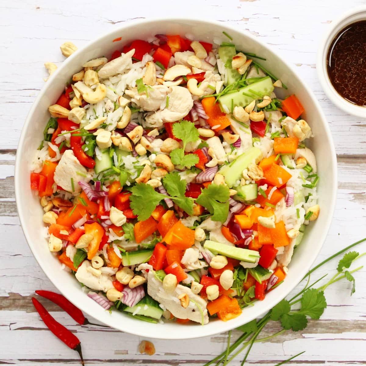 Vietnamese rice and chicken salad