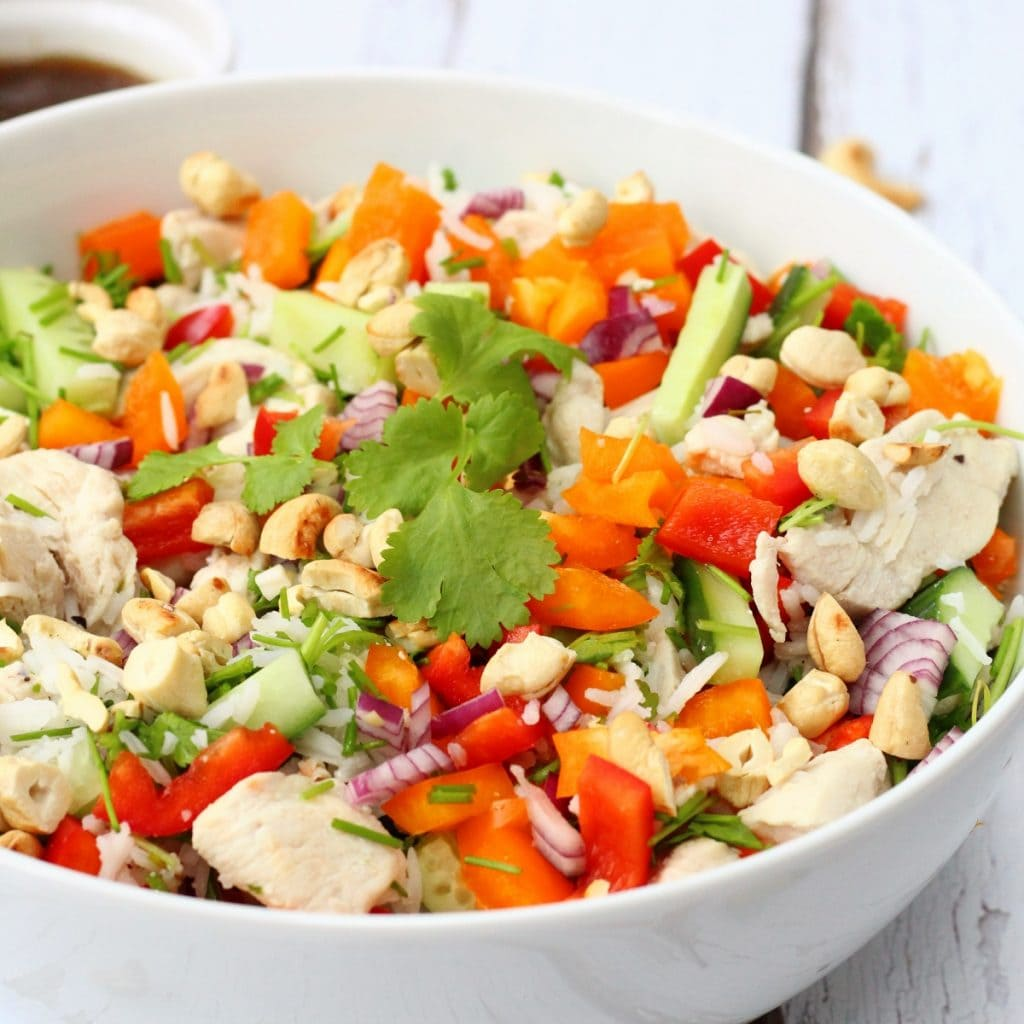 close up of vietnamese chicken rice salad
