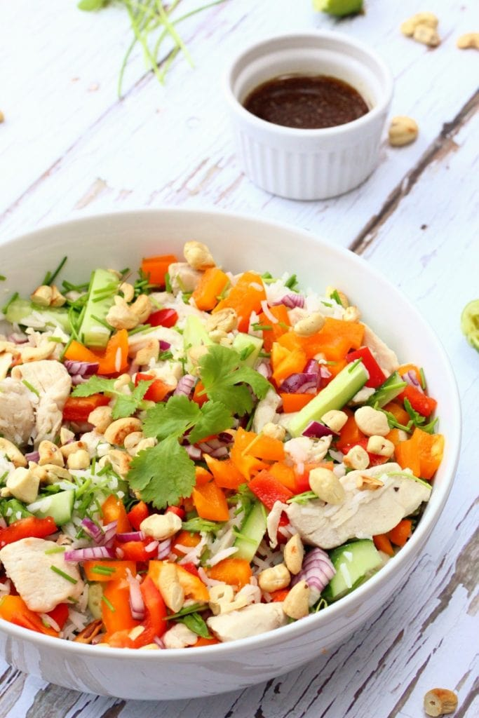 Vietnamese chicken and rice salad with cashew nuts and a soy lime dressing