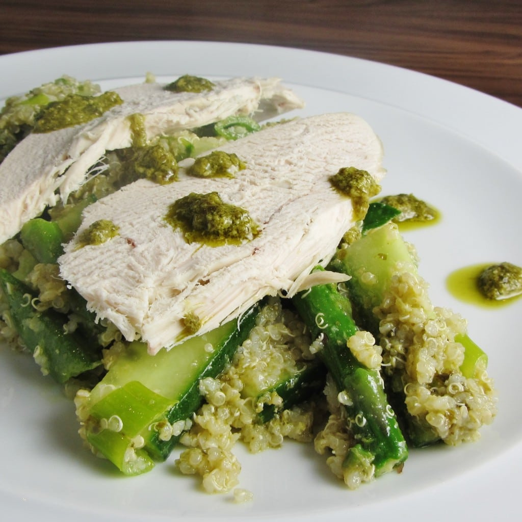 Quinoa Pesto and Chicken Salad with Green Vegetables ...