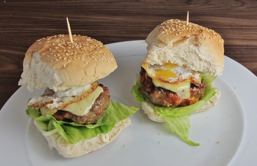 Homemade beef and chorizo burgers