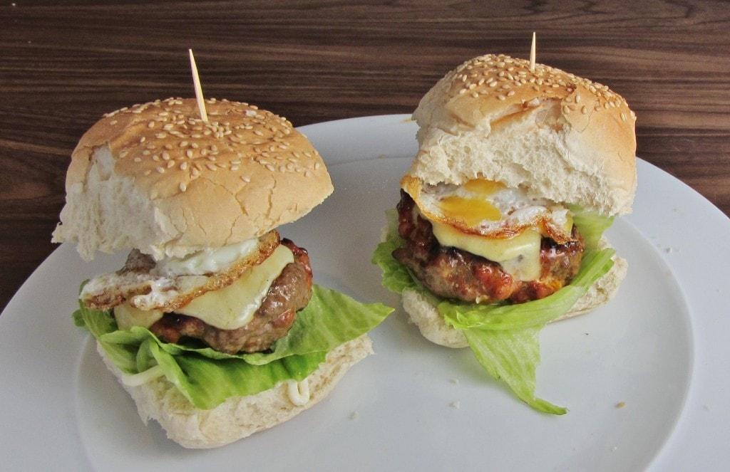 Homemade beef and chorizo burgers