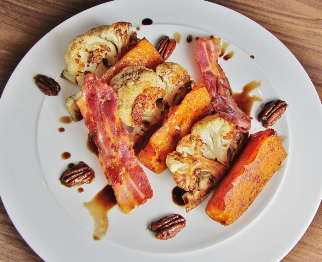 Roast cauliflower and butternut squash salad with bacon and candied pecans