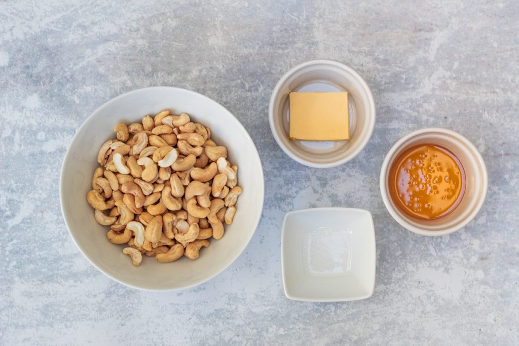 Ingredients for honey roasted cashew nuts