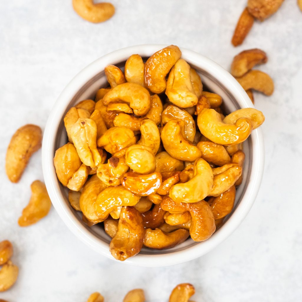 Honey roasted nuts in a bowl