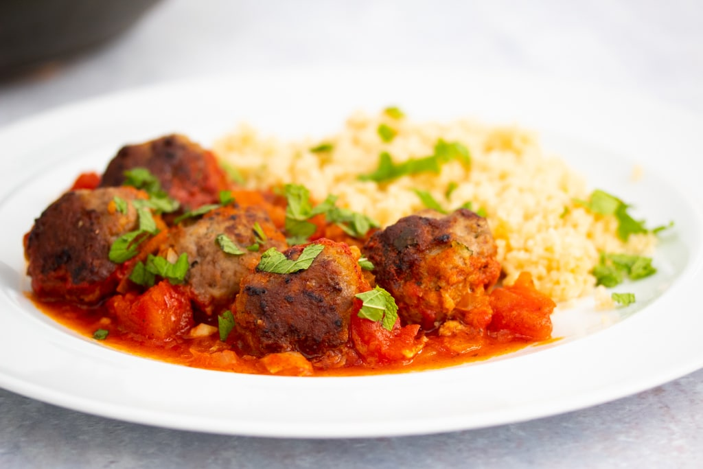 minty lamb meatballs with couscous
