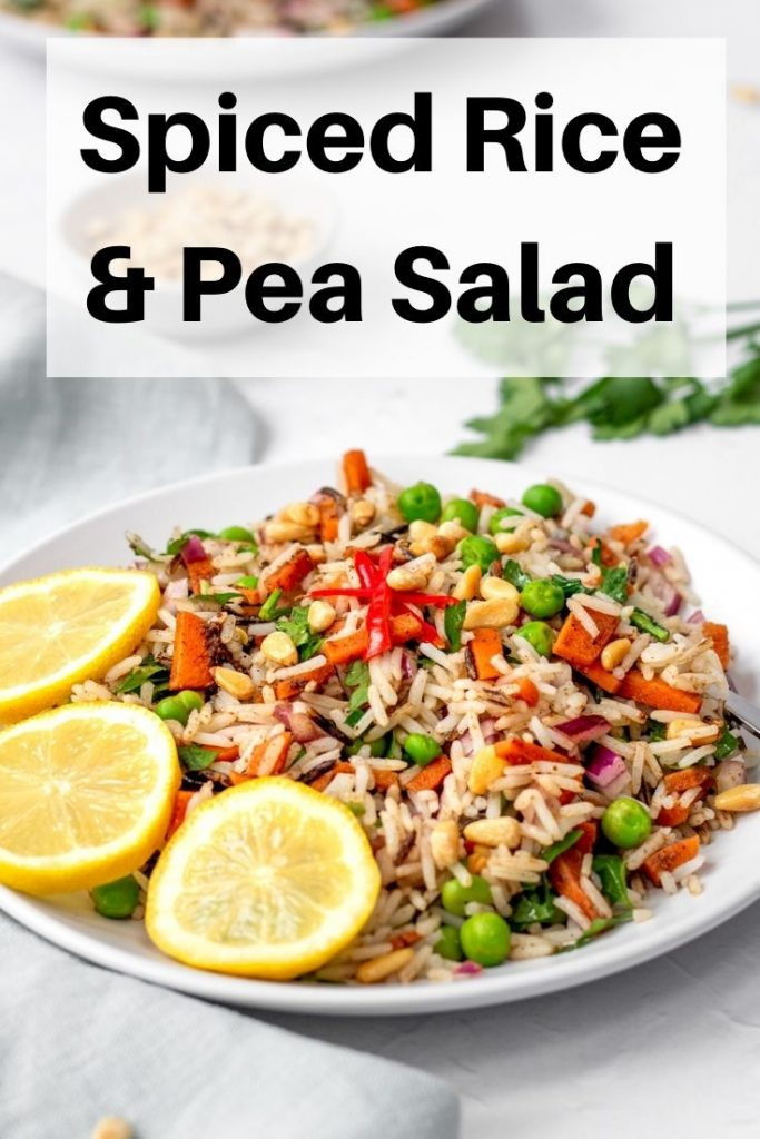 Wild rice and pea salad pin image