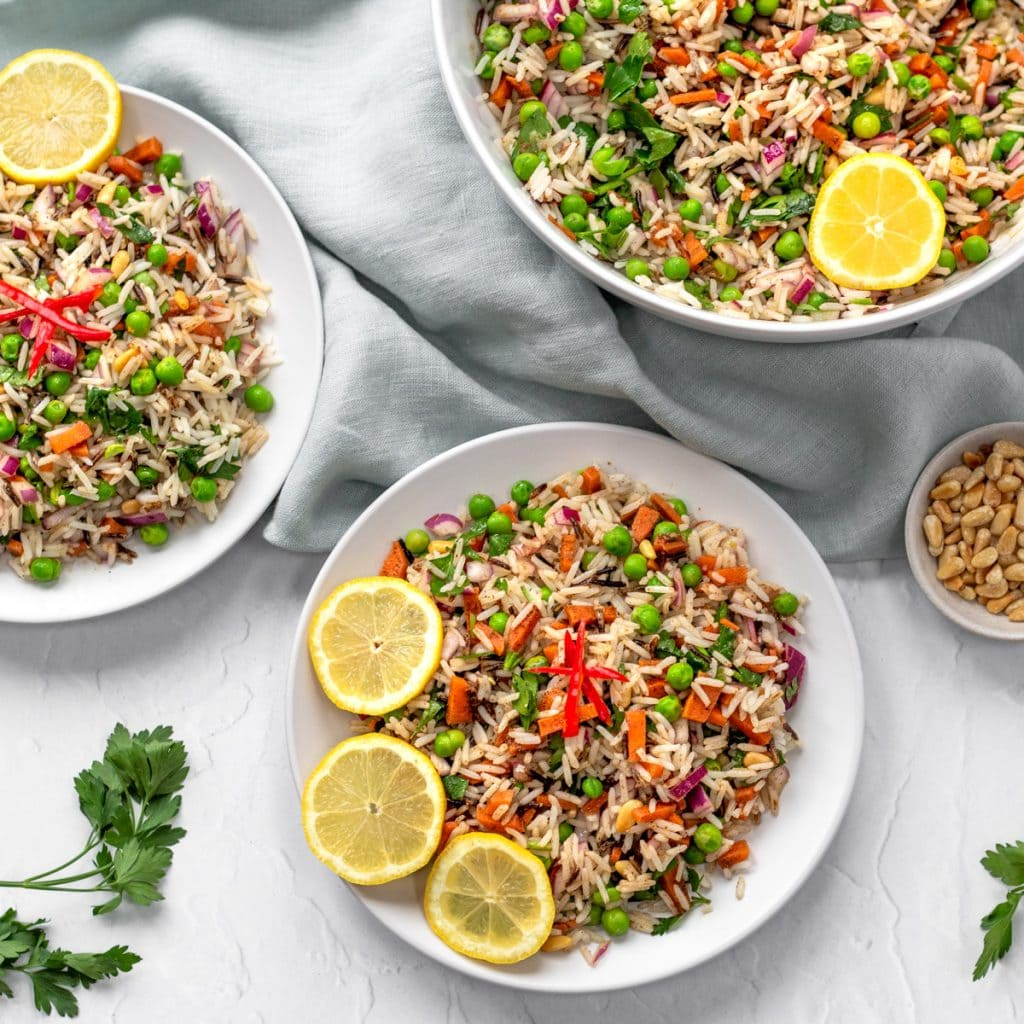 Spiced rice and pea salad