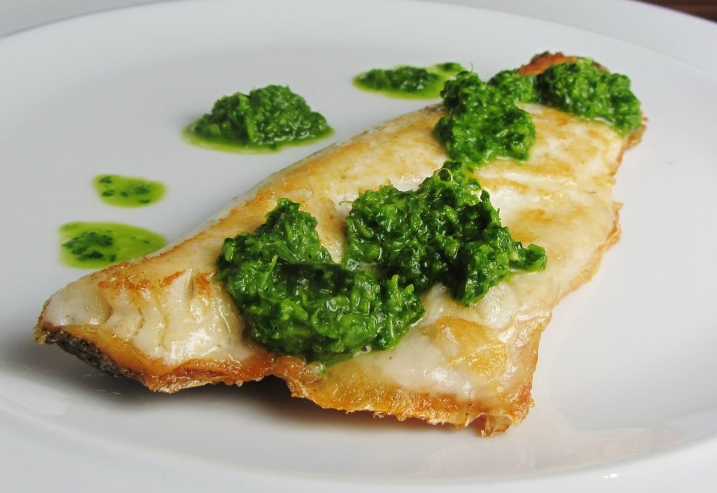Sea Bass with Simple Green Herb Sauce