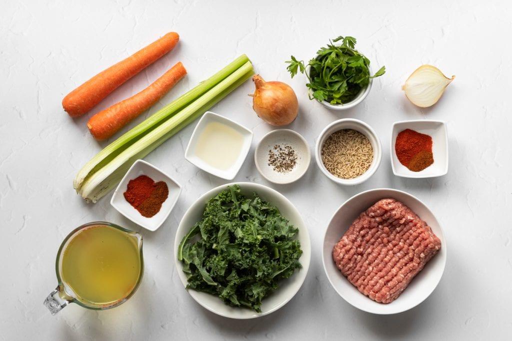 Ingredients for ciorba de Perisoare
