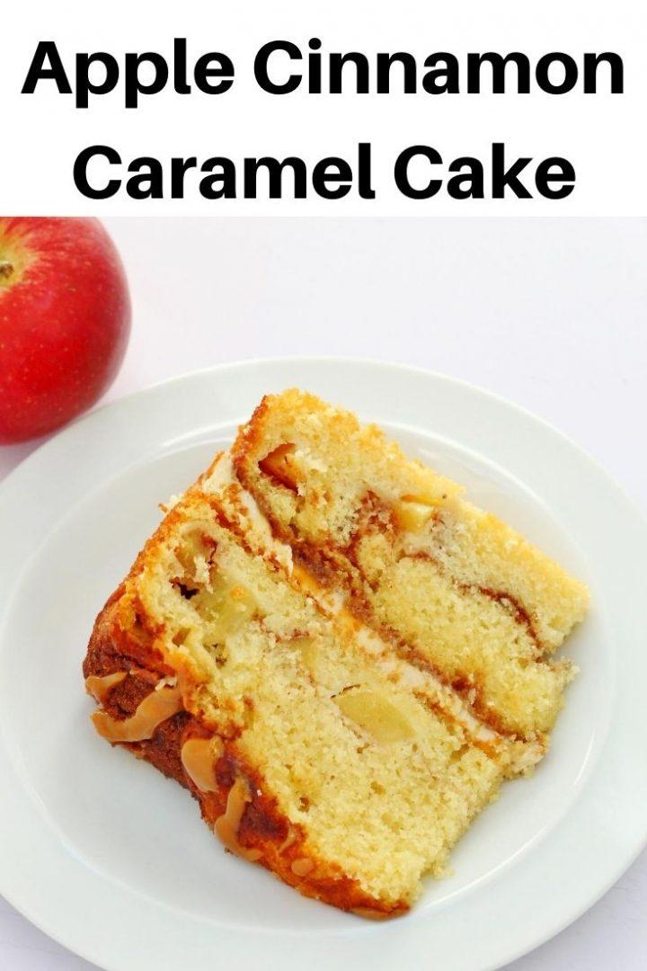 Apple cinnamon caramel cake pin image