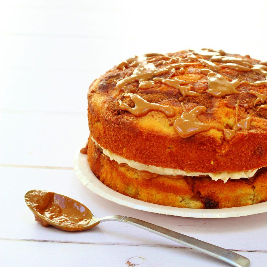 Apple cinnamon and caramel cake