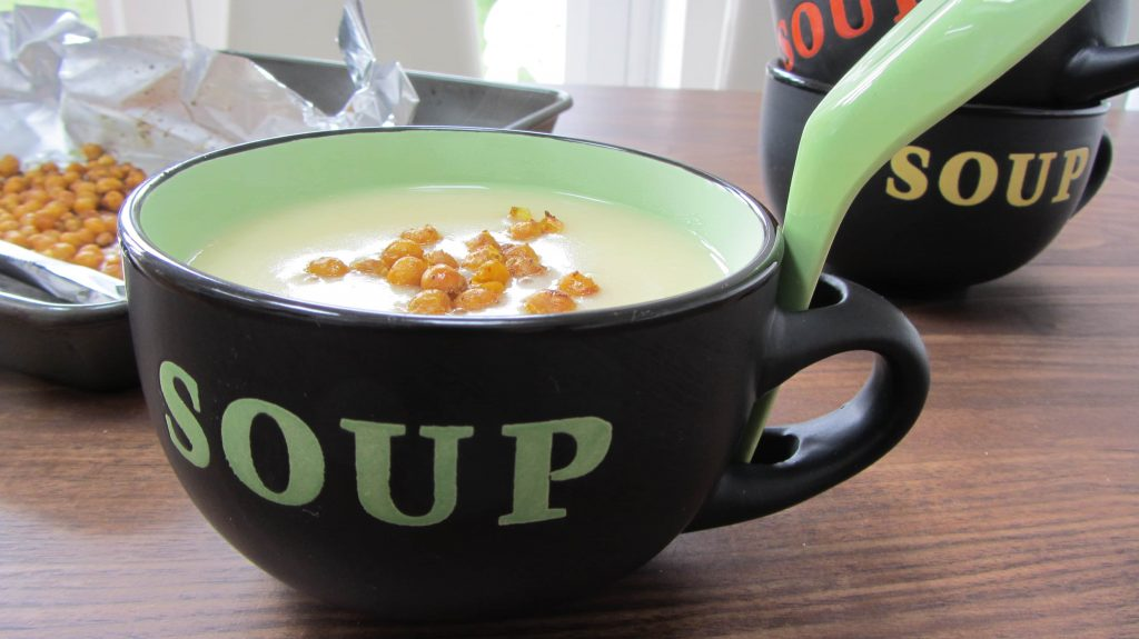 Roasted Garlic and Potato Soup with Curried Chickpea Croutons