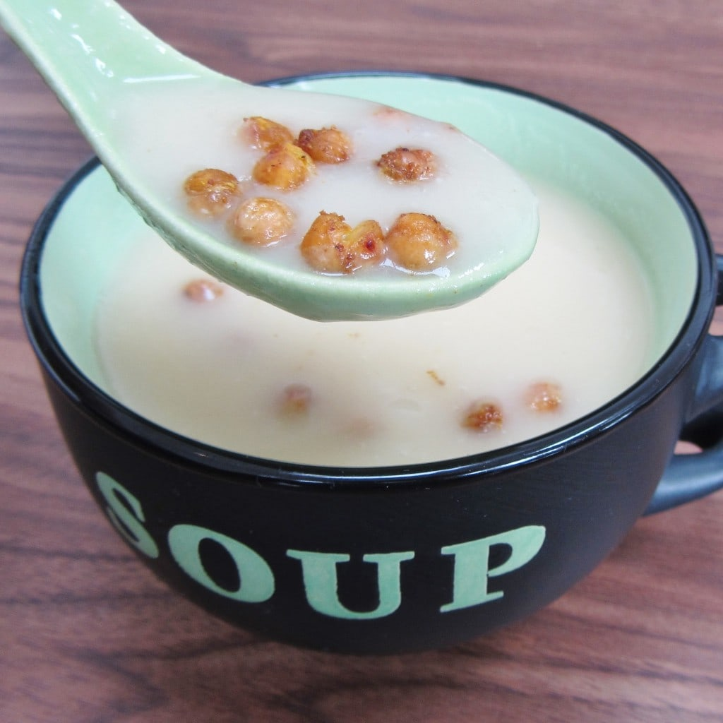 Roasted Garlic and Potato Soup with Curried Chickpeas