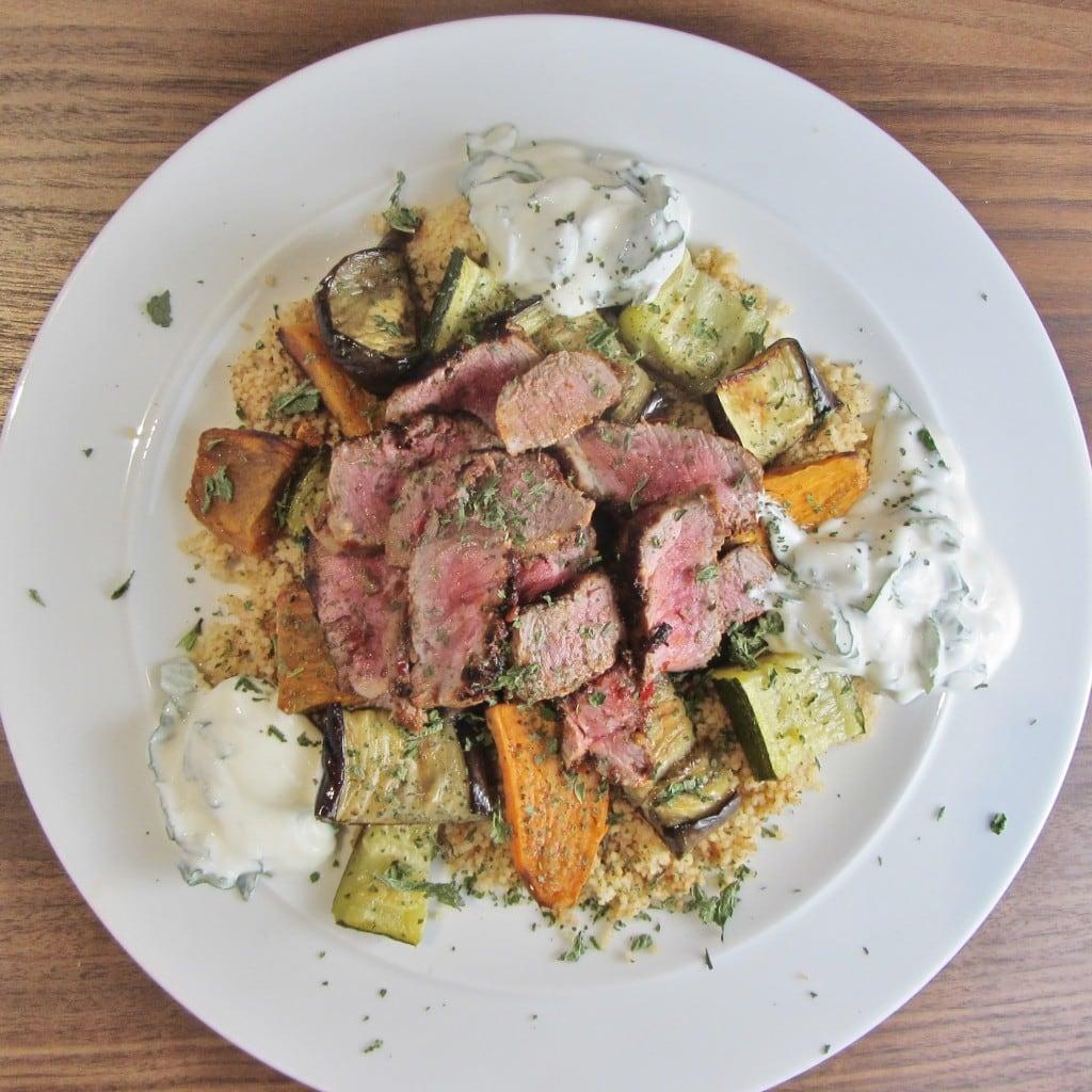 Harissa marinated lamb salad